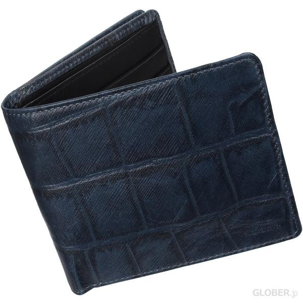 アニアリ クロコ型押しメンズ二つ折り財布