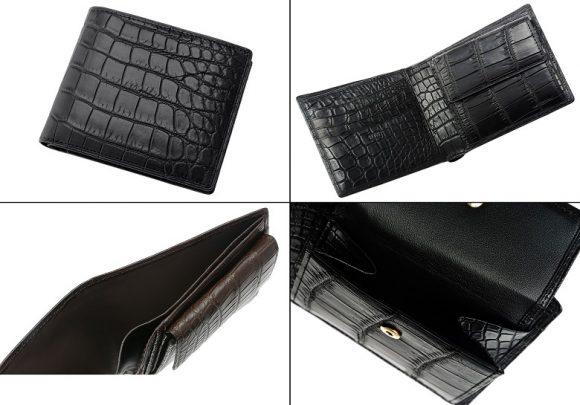 キプリスコレクションのマットクロコダイル二つ折り財布