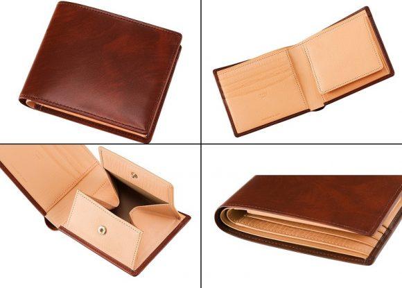 キプリスのシラサギレザー二つ折り財布