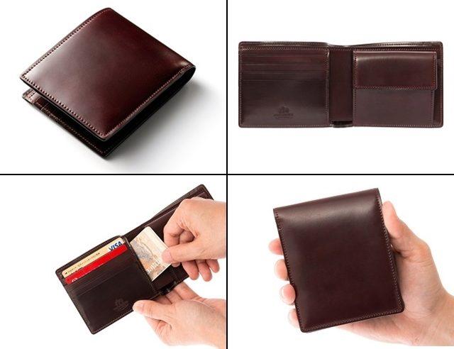 ココマイスターのシェルコードバン二つ折り財布ジョンロブ