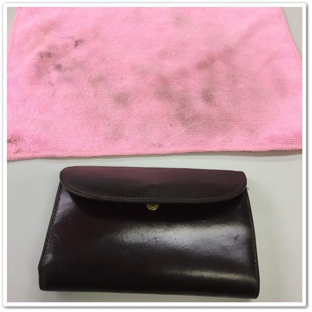 Whitehouse Coxのブライドルレザーの財布を水拭きしたところ