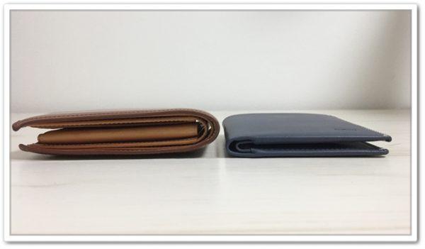 NoteSleeveと二つ折り財布の厚み比較