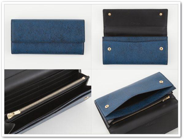 チマブエの漆塗りシボ型押しレザーのカブセ長財布