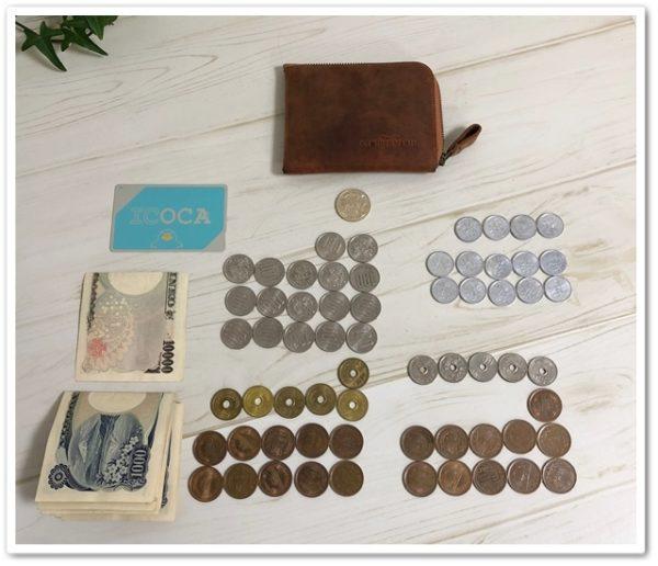 ナポレオン・ボナパルトL字ファスナーに入っていた大量の小銭を並べたところ