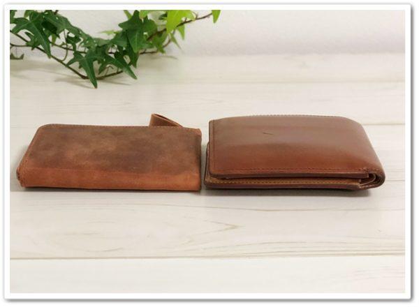 ナポレオン・ボナパルトL字ファスナーのファスナーと、ブライドルインペリアルパース二つ折り財布の薄さ比較