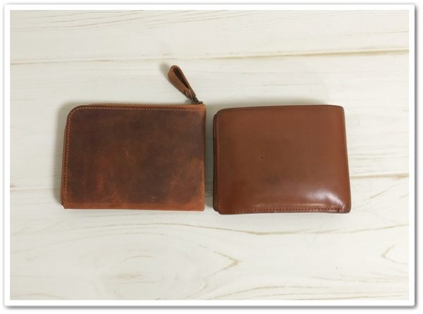ナポレオン・ボナパルトL字ファスナーのファスナーと、ブライドルインペリアルパース二つ折り財布の大きさ比較