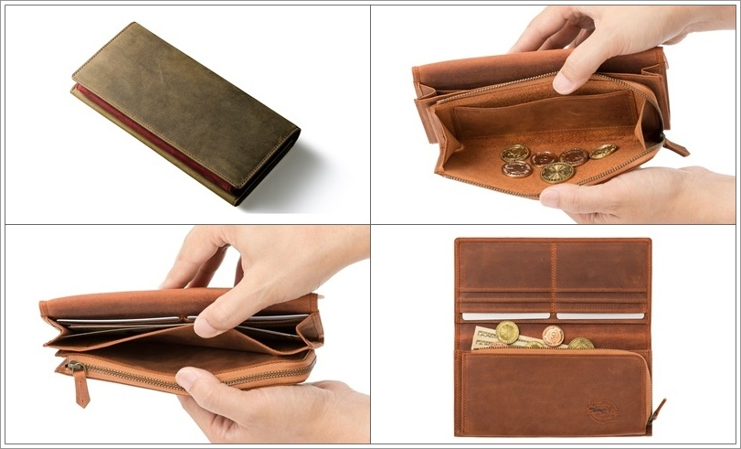 ココマイスターのナポレオンカーフのアレッジドウォレット長財布