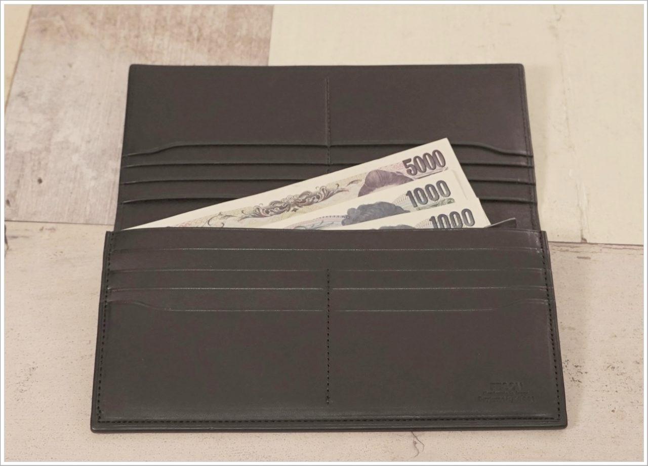 アドバンレザー長財布に札をいれてみた