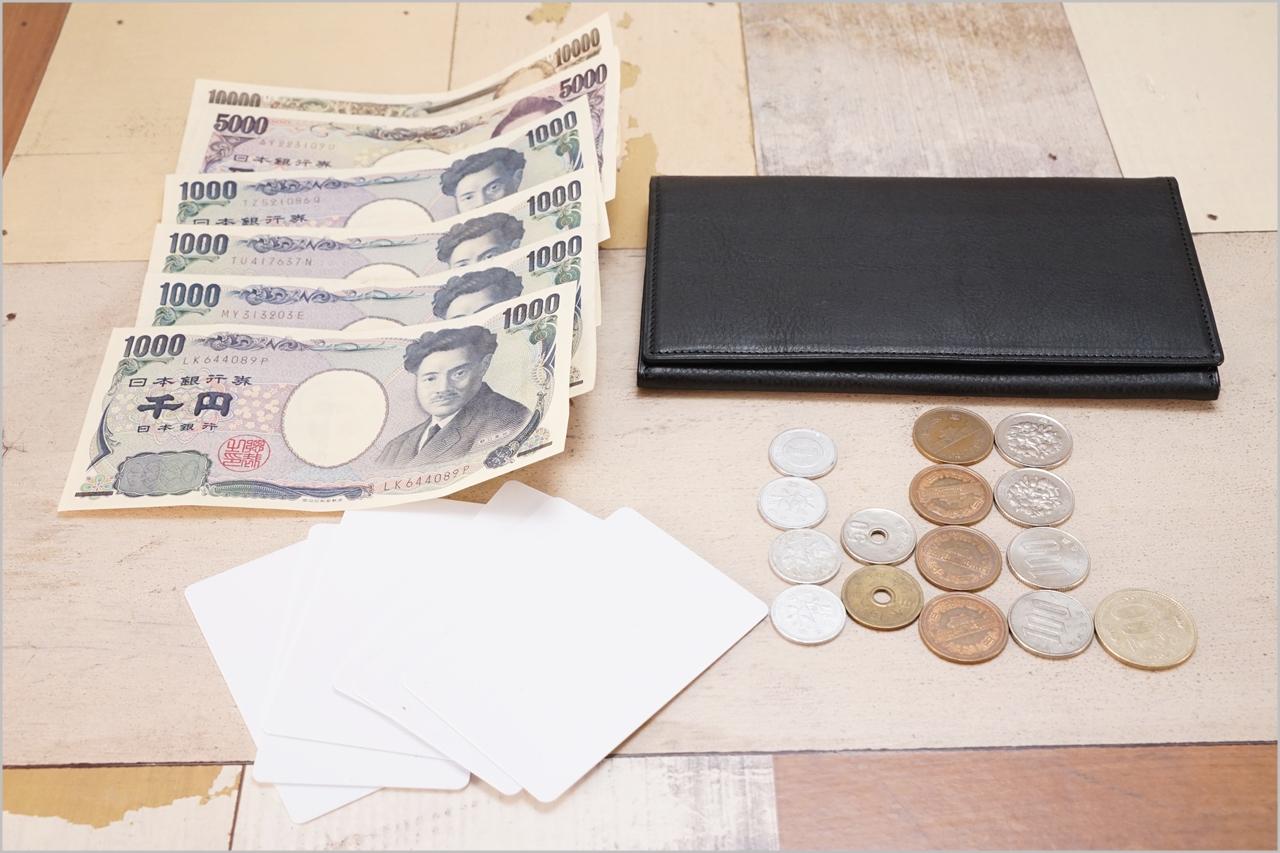 ディアレスト長財布のカブセ束入れN01と小銭とお札とカード