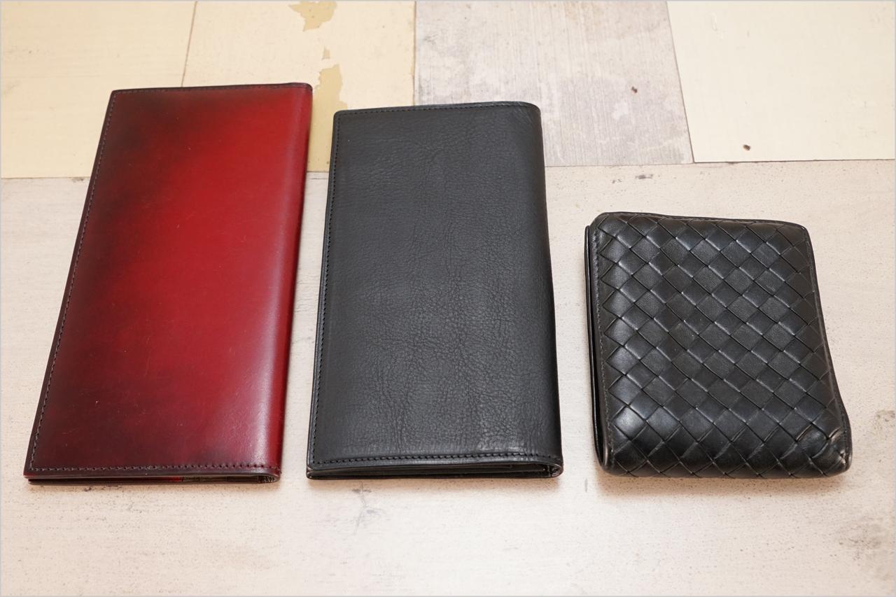 Dearestのカブセ束入れとYUHAKUのコードバン長財布とボッテガ・ヴェネタ二つ折り財布の比較